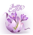 Happy Easter greeting card template with flowers vector image vector image