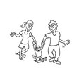 happy family cartoon outlined cartoon handrawn vector image vector image