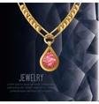 icon necklace gold gem isolated vector image vector image