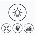 Lamp idea Graph chart diagram Head with gear vector image vector image