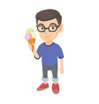little caucasian boy holding an ice cream cone vector image vector image