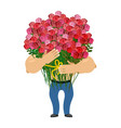 man and big bouquet of roses guy congratulates vector image vector image