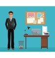 man glasses office work space desk notice board vector image