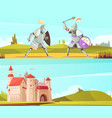 medieval horizontal cartoon banners set vector image vector image