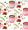 merry christmas cup on a white vector image vector image