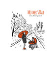 mother with stoller walking in city park sketch vector image