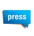 press blue 3d speech bubble vector image vector image