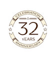 realistic thirty two years anniversary celebration vector image vector image