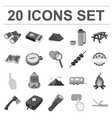 rest in the camping monochrome icons in set vector image vector image