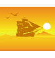 sailing ship on an orange background of the sky an vector image vector image