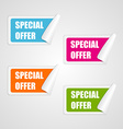 Set colorful square special offer stickers vector image