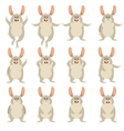set flat rabbit icons vector image