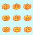 set of halloween pumpkins with different faces vector image vector image