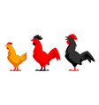set variety chicken silhouettes vector image