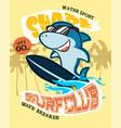 shark cartoon on surfboard vector image vector image