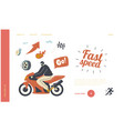 speed racing motocross rally landing page vector image