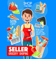 supermarket cashier or seller profession poster vector image vector image