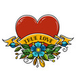tattoo heart pierced with arrow true love amour vector image vector image