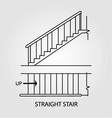 Top view and front view of a straight staircase vector image vector image