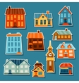 town icon set cute colorful houses vector image