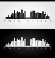 twin cities usa skyline and landmarks silhouette vector image vector image