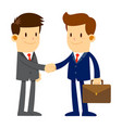 two businessman in suits shaking hands while vector image