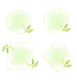 watercolor green leaves with gold wreath frame vector image vector image