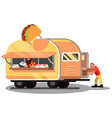 workers in mexican food truck vector image