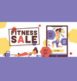 workout pattern fitness sportive girl vector image vector image