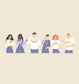 young people with different emotions and gestures vector image