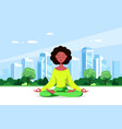 young woman in lotus pose pratices meditation vector image vector image