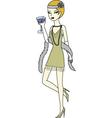 Flapper girl drinking martini vector image