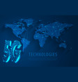 5g global network technology with world map blue vector image vector image