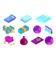 accounting and banking objects isometric 3d vector image