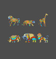 animals with ornaments vector image