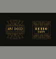 art deco retro party card templates set luxury vector image