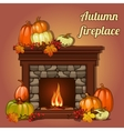 Autumn decor pumpkins and fireplace vector image vector image
