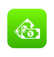 bank note icon green vector image