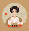 beautiful japan travel banner with geisha sushi vector image