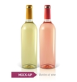 bottles of white and rose wine vector image vector image