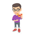 caucasian boy in glasses eating tasty pizza vector image vector image