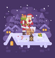 cheerful santa claus on a roof climbing into the vector image vector image