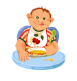 Child eating breakfast vector image vector image