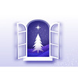 christmas tree with star under the snowfall vector image vector image