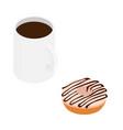 coffee mug and sweet chocolate donut isolated on vector image vector image
