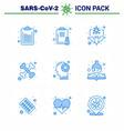 coronavirus prevention 25 icon set blue vector image vector image