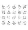 crystal charcoal draw line icons set vector image