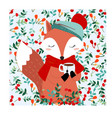 cute fox in pretty cherry berry forest vector image vector image