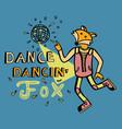 dancing fox print for kids vector image