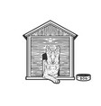 dog in booth sketch vector image vector image